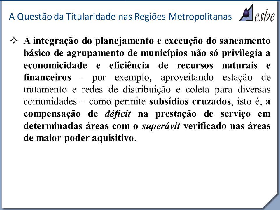 RRe A Questão da Titularidade nas Regiões Metropolitanas A integração do planejamento e execução do saneamento básico de agrupamento de municípios não