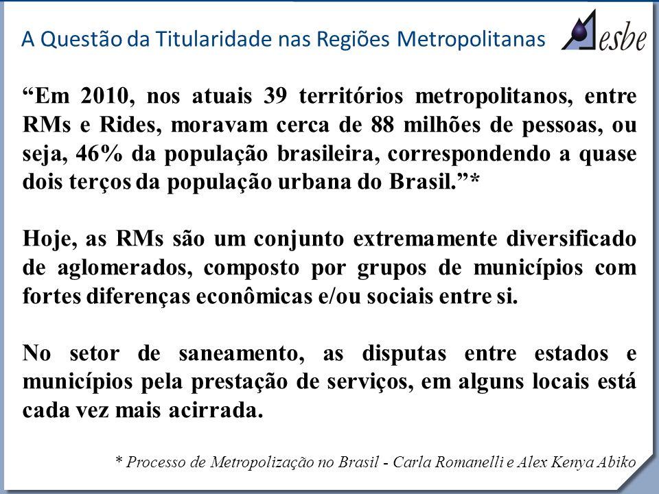 RRe A Questão da Titularidade nas Regiões Metropolitanas Distribuição dos Recursos Hídricos 1 68% Área 16% População 83% Vazão 2 16% Área 28% População 4% Vazão 3 12% Área 47% População 8% Vazão 4 4% Área 9% População 5% Vazão
