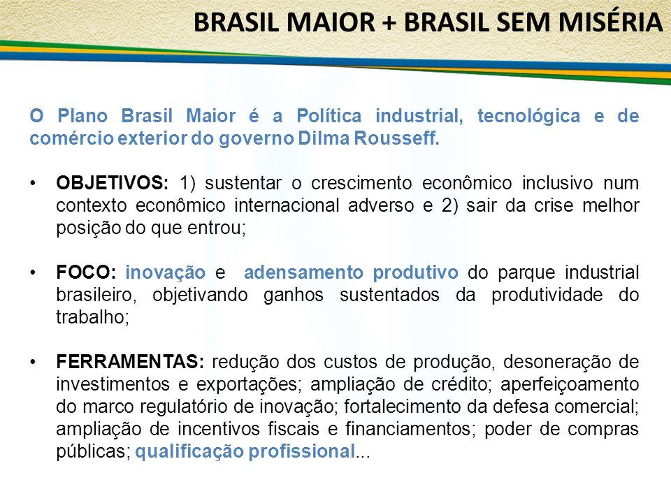 O Plano Brasil Maior é a Política industrial, tecnológica e de comércio exterior do governo Dilma Rousseff. OBJETIVOS: 1) sustentar o crescimento econ
