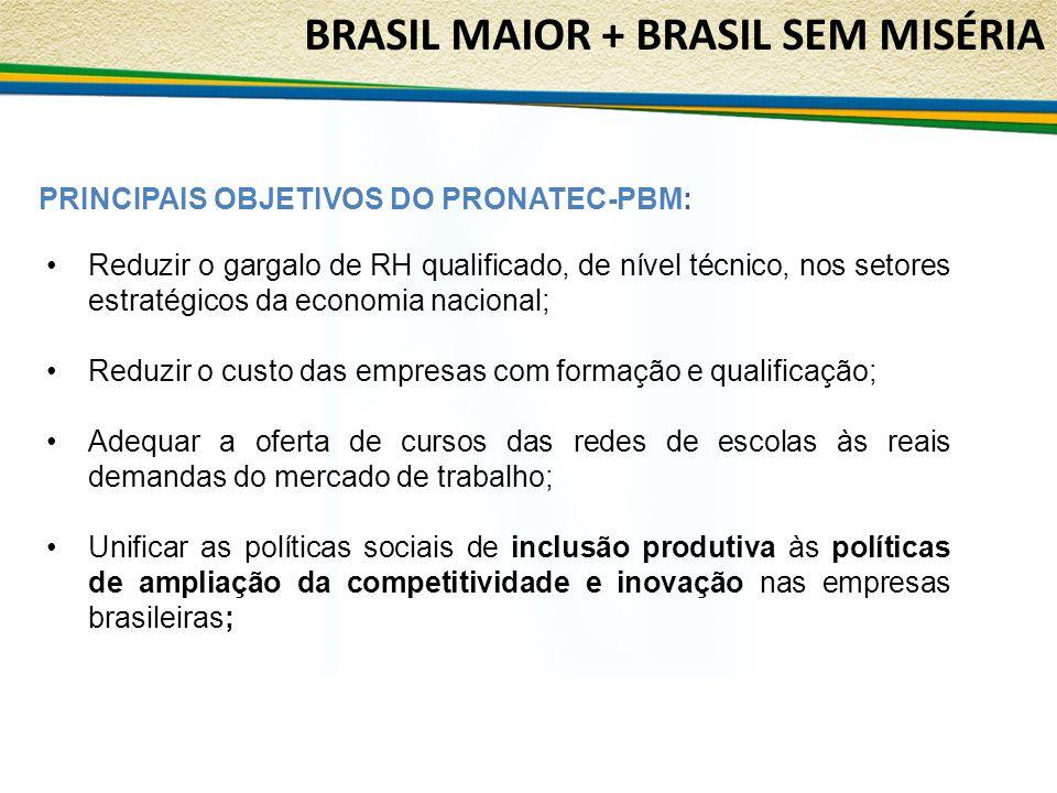 PRINCIPAIS OBJETIVOS DO PRONATEC-PBM: Reduzir o gargalo de RH qualificado, de nível técnico, nos setores estratégicos da economia nacional; Reduzir o