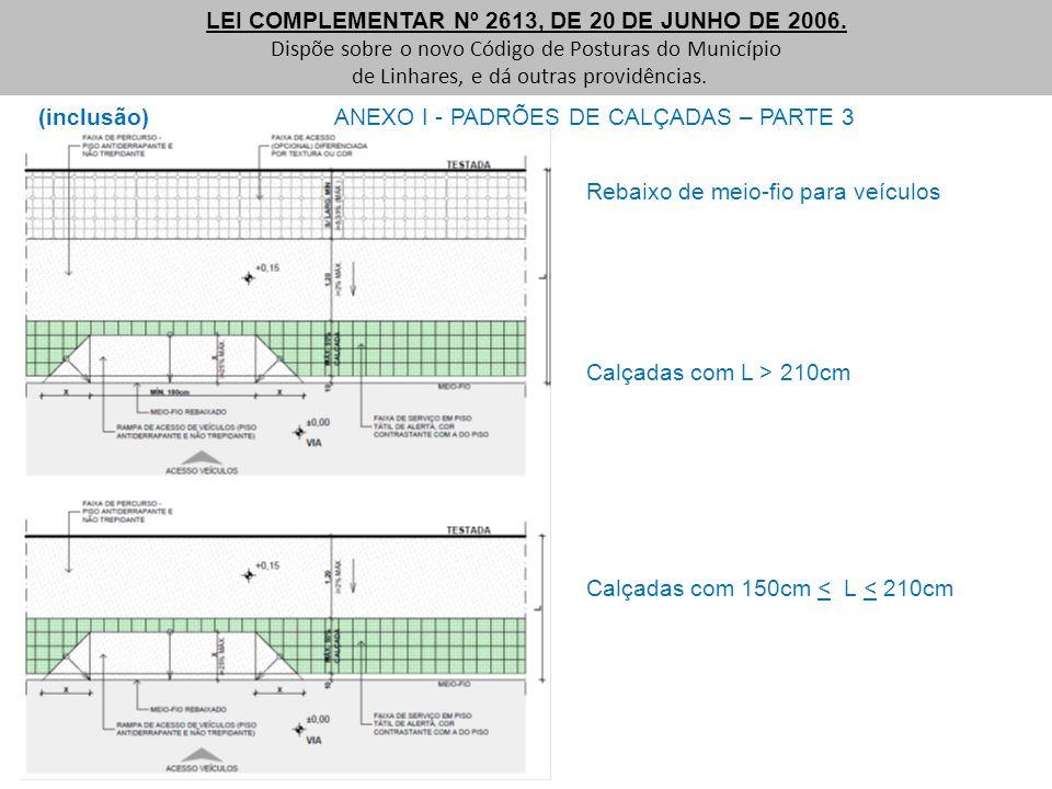 (inclusão) ANEXO I - PADRÕES DE CALÇADAS – PARTE 3 LEI COMPLEMENTAR Nº 2613, DE 20 DE JUNHO DE 2006. Dispõe sobre o novo Código de Posturas do Municíp