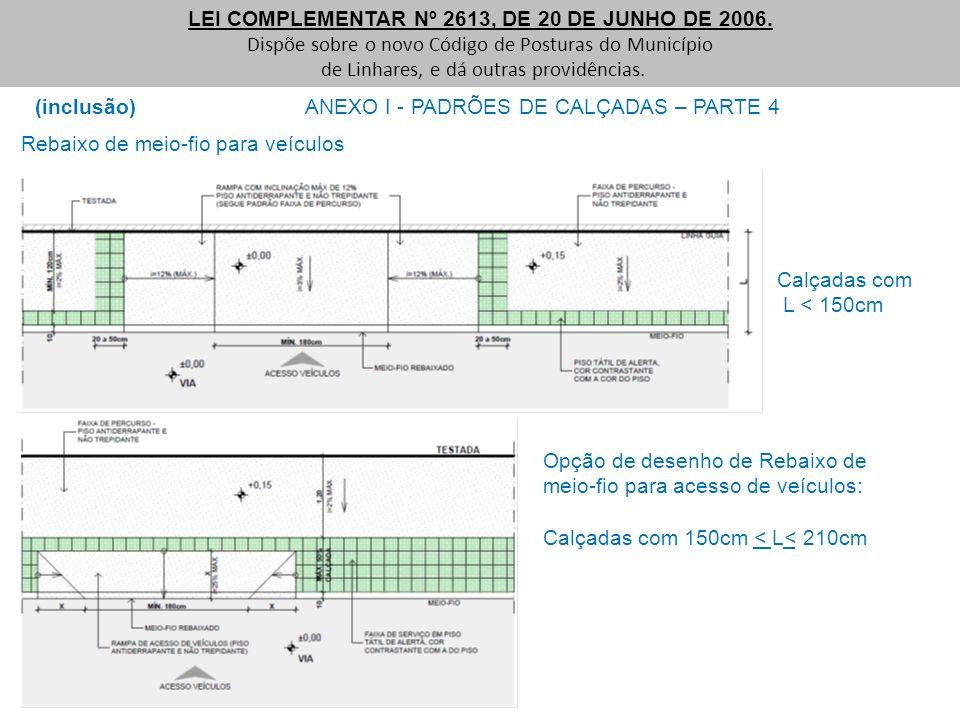 (inclusão) ANEXO I - PADRÕES DE CALÇADAS – PARTE 4 LEI COMPLEMENTAR Nº 2613, DE 20 DE JUNHO DE 2006. Dispõe sobre o novo Código de Posturas do Municíp