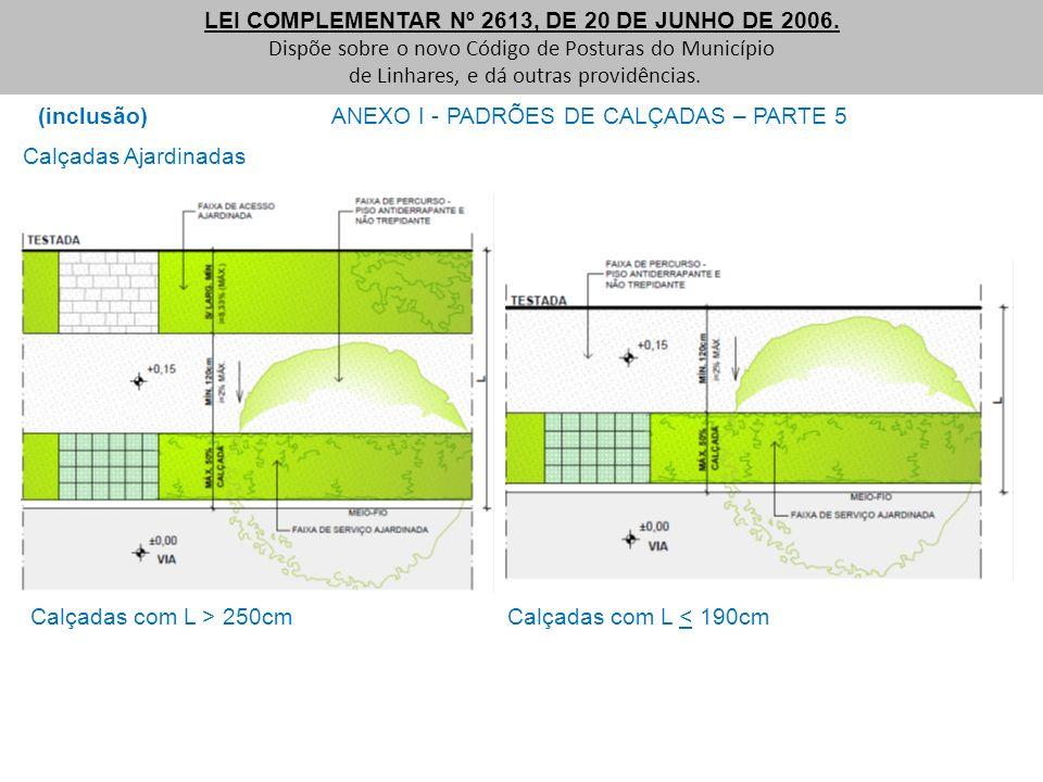 (inclusão) ANEXO I - PADRÕES DE CALÇADAS – PARTE 5 LEI COMPLEMENTAR Nº 2613, DE 20 DE JUNHO DE 2006. Dispõe sobre o novo Código de Posturas do Municíp