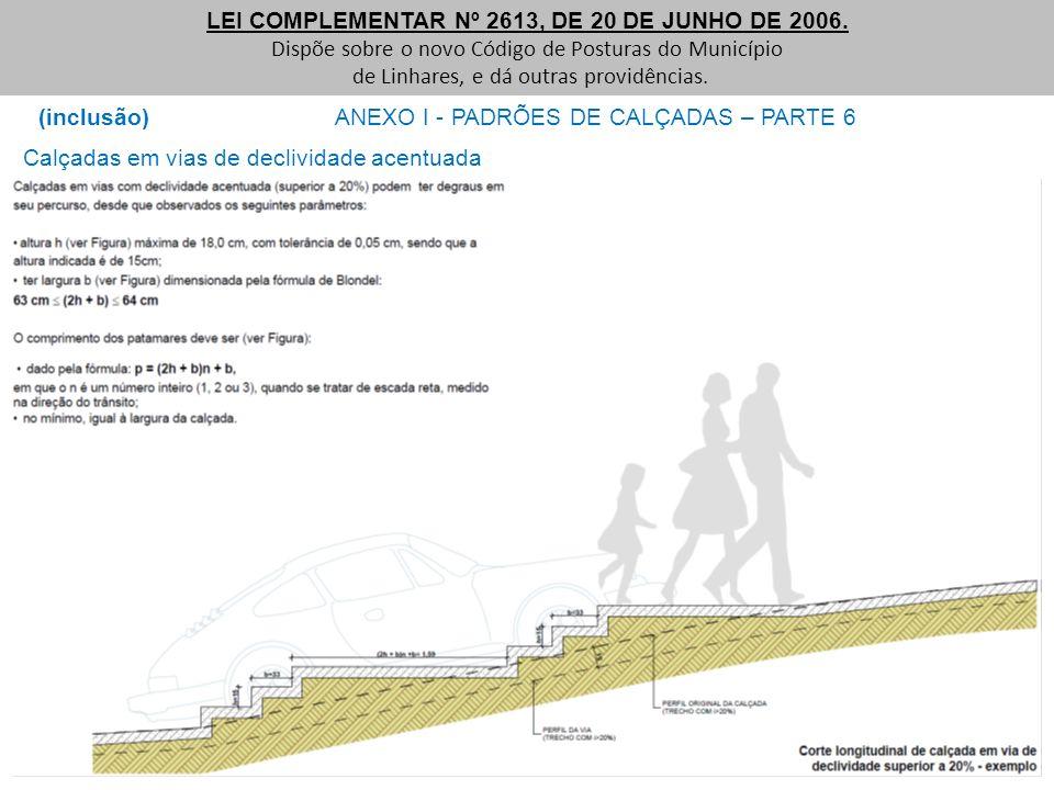 (inclusão) ANEXO I - PADRÕES DE CALÇADAS – PARTE 6 LEI COMPLEMENTAR Nº 2613, DE 20 DE JUNHO DE 2006. Dispõe sobre o novo Código de Posturas do Municíp