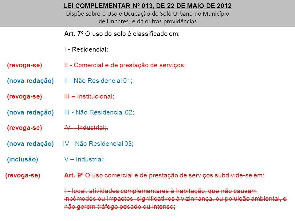 Art. 7º O uso do solo é classificado em: I - Residencial; (revoga-se) II - Comercial e de prestação de serviços; (nova redação) II - Não Residencial 0