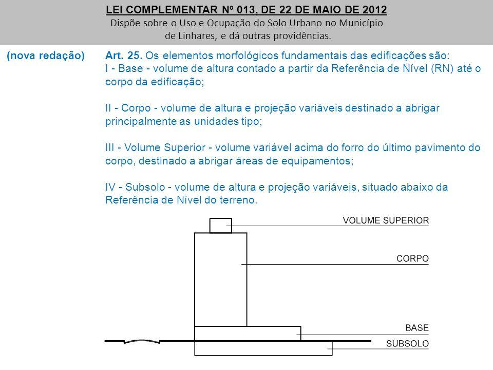 (nova redação) Art. 25. Os elementos morfológicos fundamentais das edificações são: I - Base - volume de altura contado a partir da Referência de Níve