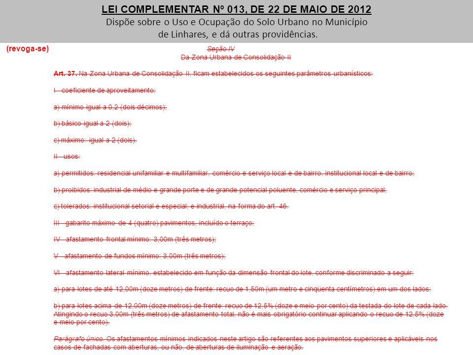 (revoga-se) Seção IV Da Zona Urbana de Consolidação II Art. 37. Na Zona Urbana de Consolidação II, ficam estabelecidos os seguintes parâmetros urbanís