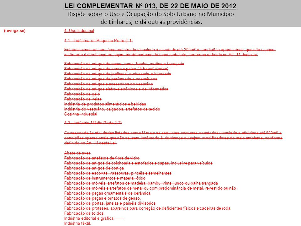 LEI COMPLEMENTAR Nº 013, DE 22 DE MAIO DE 2012 Dispõe sobre o Uso e Ocupação do Solo Urbano no Município de Linhares, e dá outras providências. (revog