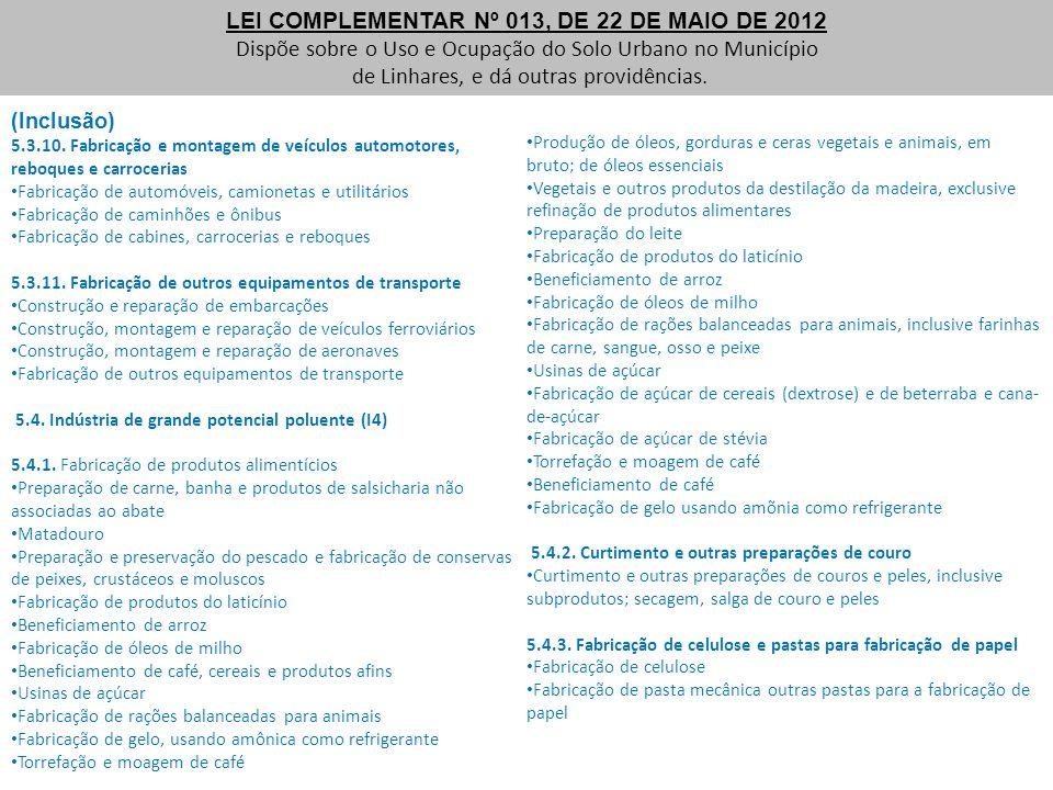 LEI COMPLEMENTAR Nº 013, DE 22 DE MAIO DE 2012 Dispõe sobre o Uso e Ocupação do Solo Urbano no Município de Linhares, e dá outras providências. (Inclu