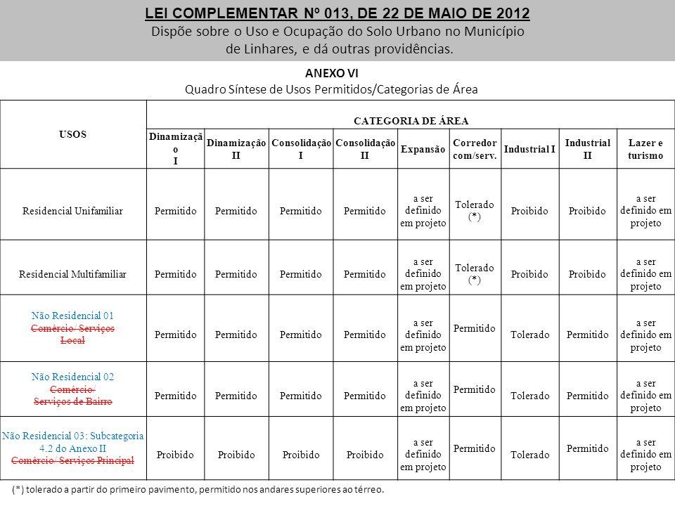 LEI COMPLEMENTAR Nº 013, DE 22 DE MAIO DE 2012 Dispõe sobre o Uso e Ocupação do Solo Urbano no Município de Linhares, e dá outras providências. ANEXO
