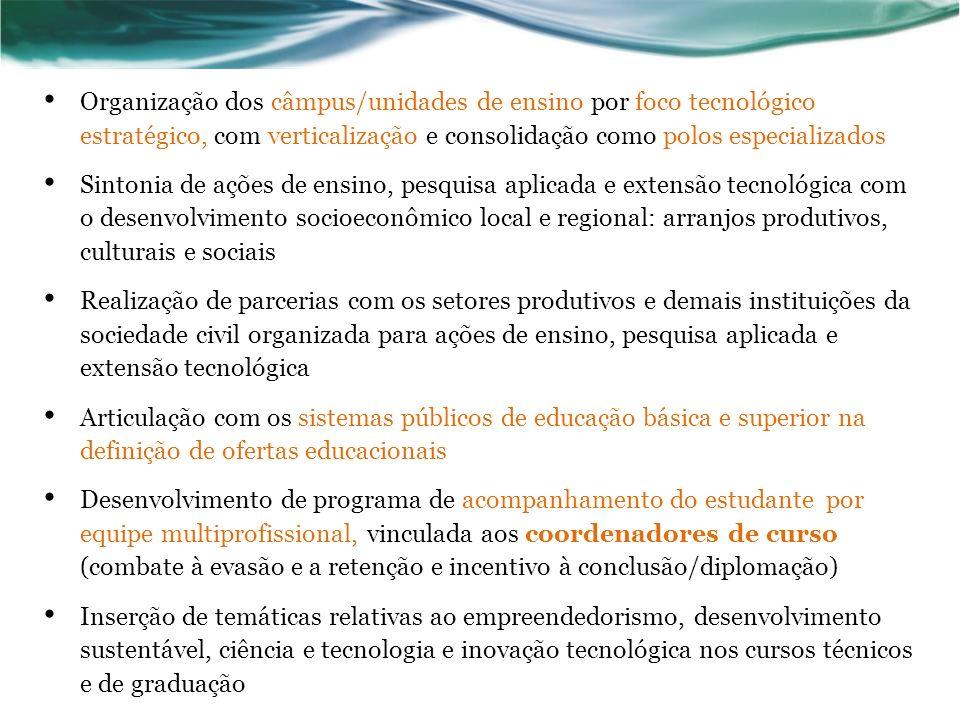 Organização dos câmpus/unidades de ensino por foco tecnológico estratégico, com verticalização e consolidação como polos especializados Sintonia de aç
