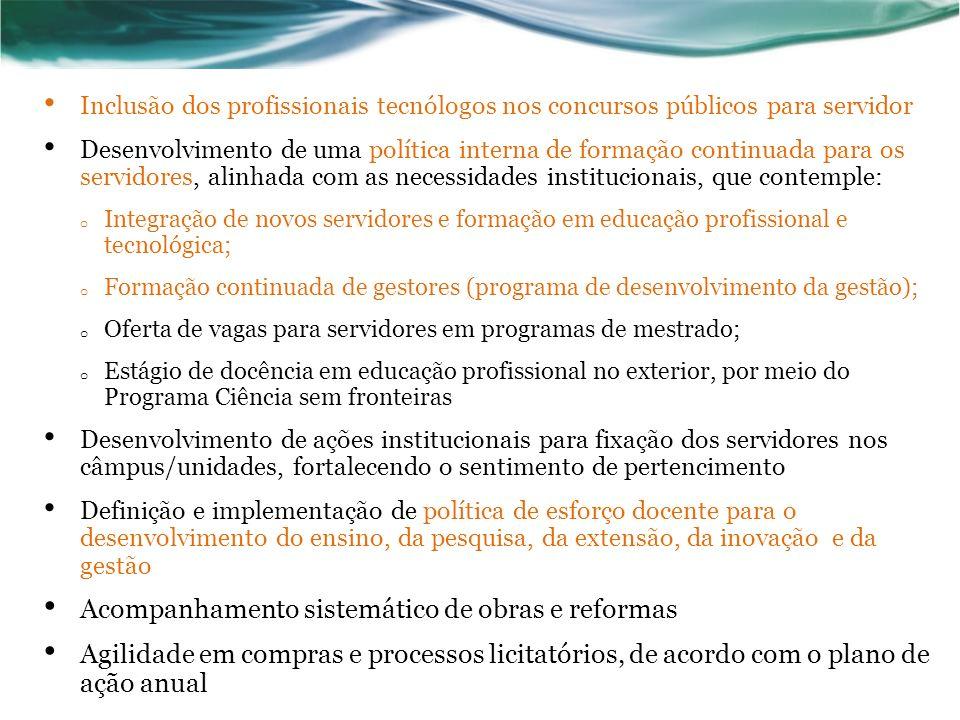 Inclusão dos profissionais tecnólogos nos concursos públicos para servidor Desenvolvimento de uma política interna de formação continuada para os serv