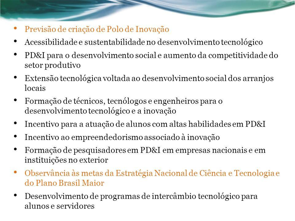 Previsão de criação de Polo de Inovação Acessibilidade e sustentabilidade no desenvolvimento tecnológico PD&I para o desenvolvimento social e aumento