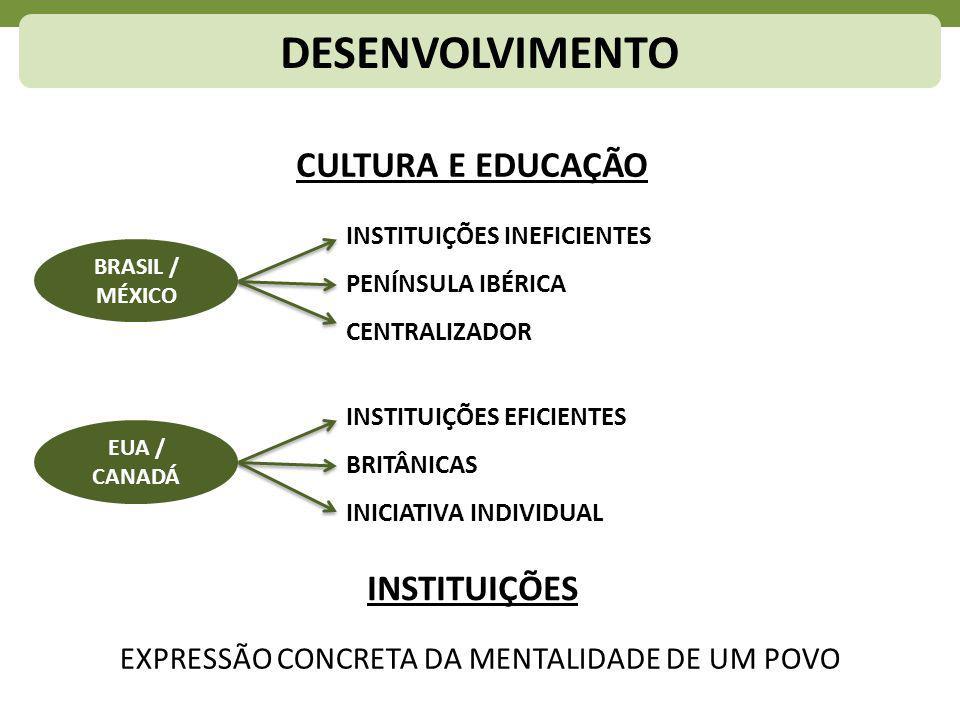 DESENVOLVIMENTO CULTURA E EDUCAÇÃO BRASIL / MÉXICO EUA / CANADÁ EXPRESSÃO CONCRETA DA MENTALIDADE DE UM POVO INSTITUIÇÕES INSTITUIÇÕES INEFICIENTES PENÍNSULA IBÉRICA CENTRALIZADOR INSTITUIÇÕES EFICIENTES BRITÂNICAS INICIATIVA INDIVIDUAL