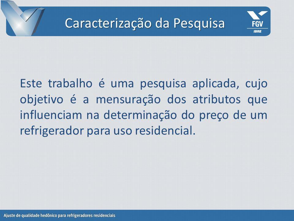 Coleta de dados Os preços foram pesquisados em supermercados e lojas de eletrodomésticos no município do RJ; Estes dados foram coletados em abril de 2010.