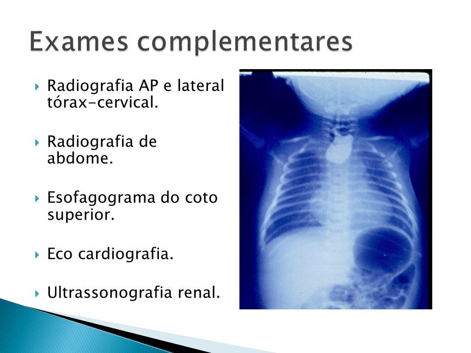 Radiografia AP e lateral tórax-cervical.Radiografia de abdome.
