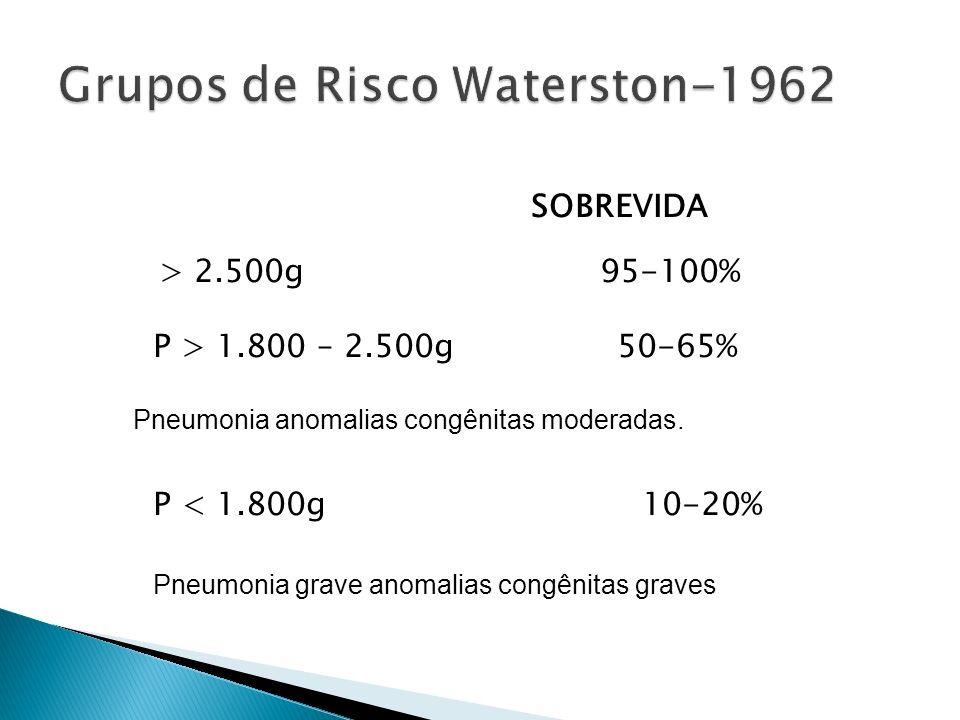 g SOBREVIDA P > 2.500g 95-100% P > 1.800 – 2.500g 50-65% P < 1.800g 10-20% Pneumonia grave anomalias congênitas graves - Pneumonia anomalias congênitas moderadas.