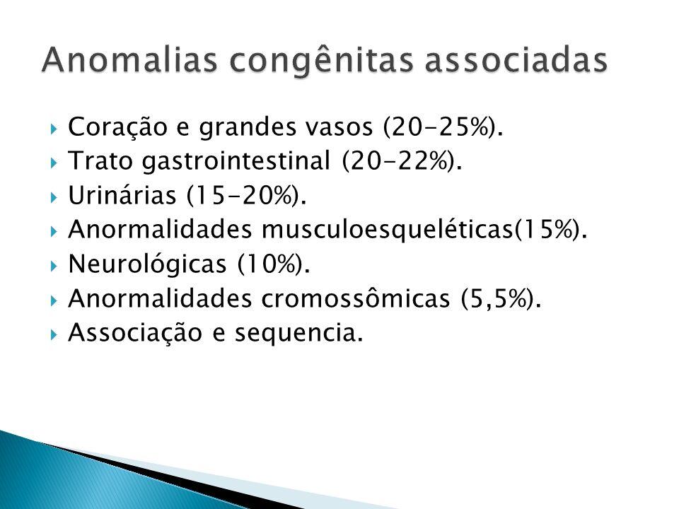 Coração e grandes vasos (20-25%).Trato gastrointestinal (20-22%).