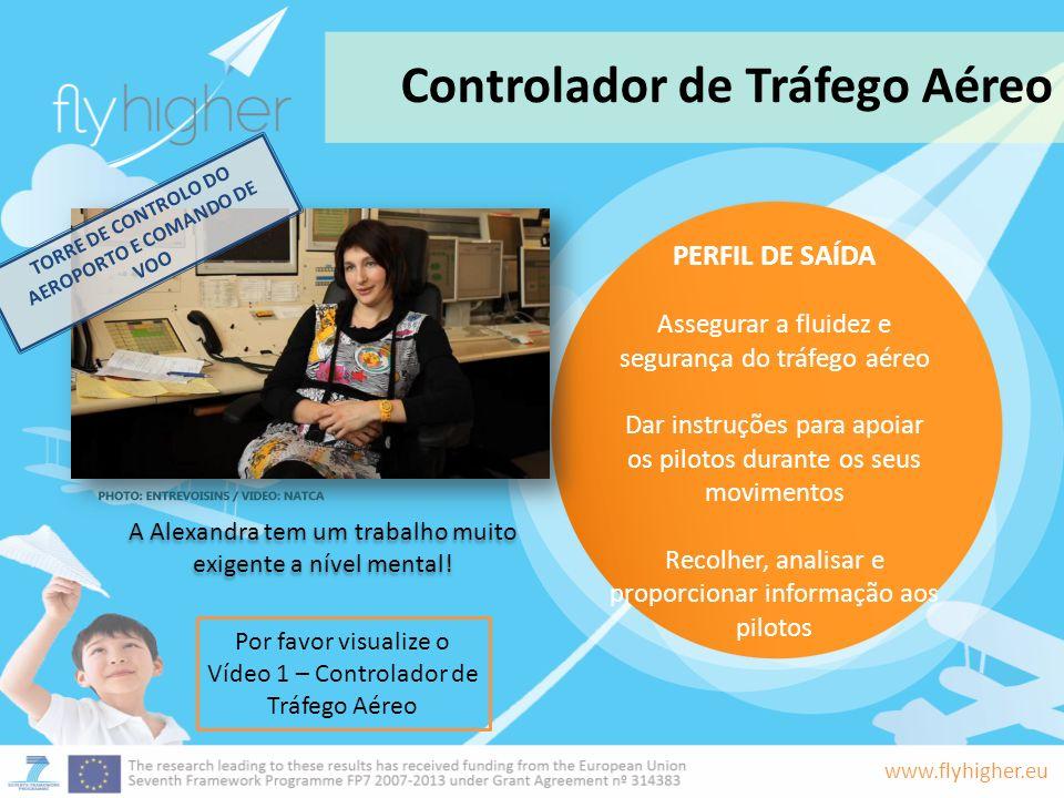 www.flyhigher.eu A Alexandra tem um trabalho muito exigente a nível mental! Controlador de Tráfego Aéreo Por favor visualize o Vídeo 1 – Controlador d
