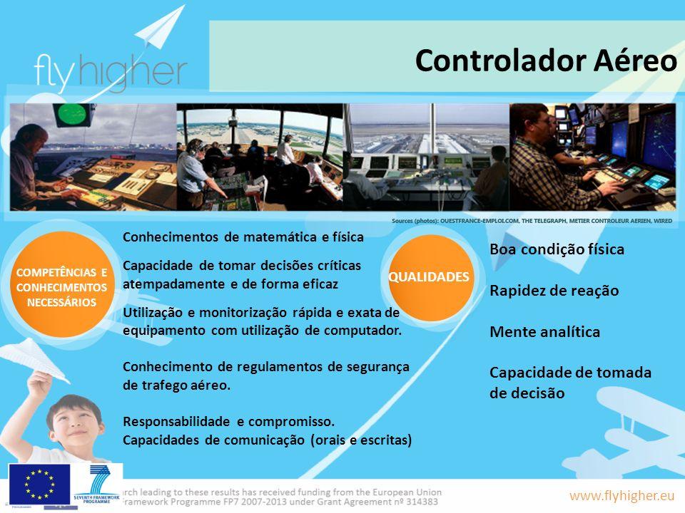 www.flyhigher.eu Controlador Aéreo QUALIDADES COMPETÊNCIAS E CONHECIMENTOS NECESSÁRIOS Boa condição física Rapidez de reação Mente analítica Capacidad