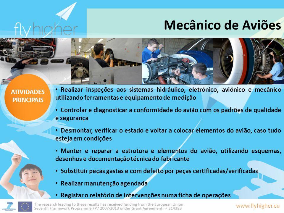 www.flyhigher.eu Mecânico de Aviões Realizar inspeções aos sistemas hidráulico, eletrónico, aviónico e mecânico utilizando ferramentas e equipamento d