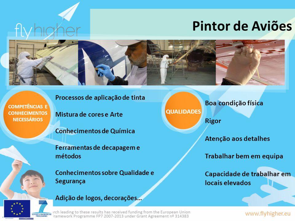www.flyhigher.eu Pintor de Aviões Boa condição física Rigor Atenção aos detalhes Trabalhar bem em equipa Capacidade de trabalhar em locais elevados Pr