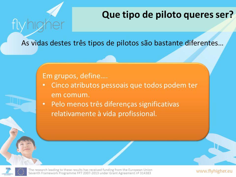 www.flyhigher.eu Que tipo de piloto queres ser? Em grupos, define…. Cinco atributos pessoais que todos podem ter em comum. Pelo menos três diferenças