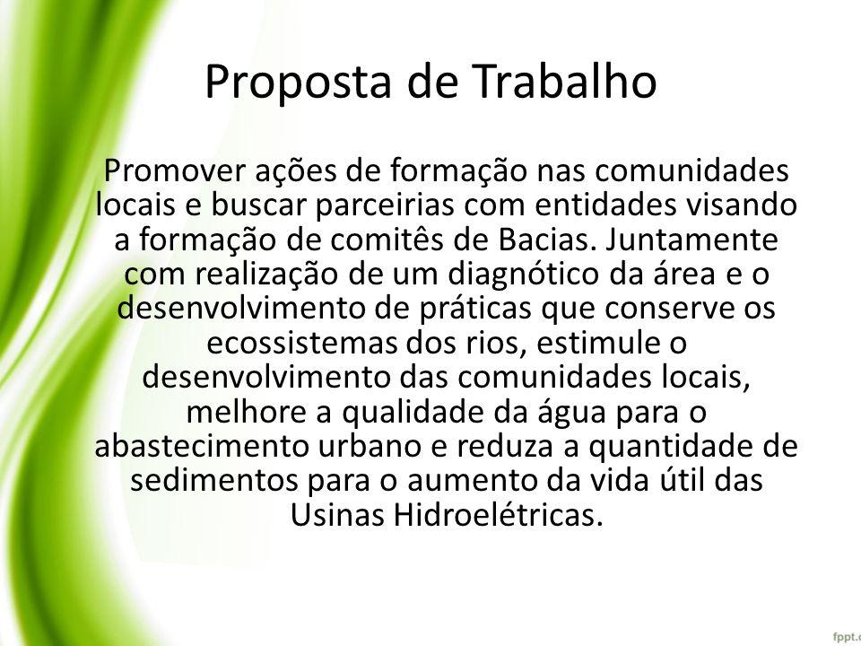 Atuação em escala piloto Bacia do Rio comemoração; Importância: – No abastecimento hídrico da região; – na geração de energia; – para fauna; – na agricultura.