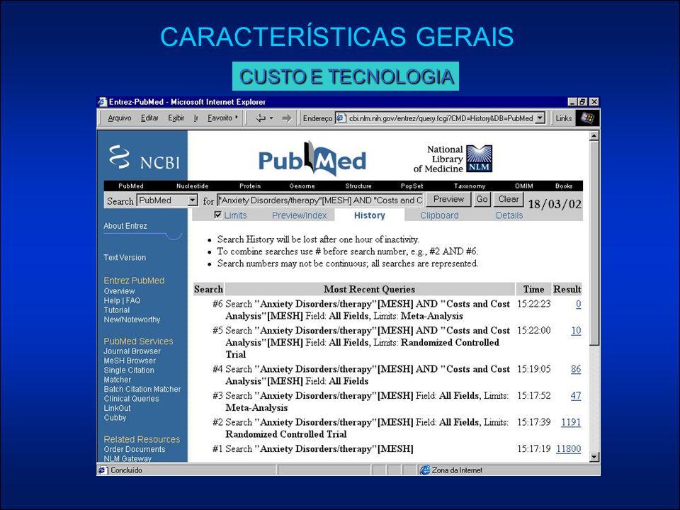 18/03/02 CARACTERÍSTICAS GERAIS CUSTO E TECNOLOGIA