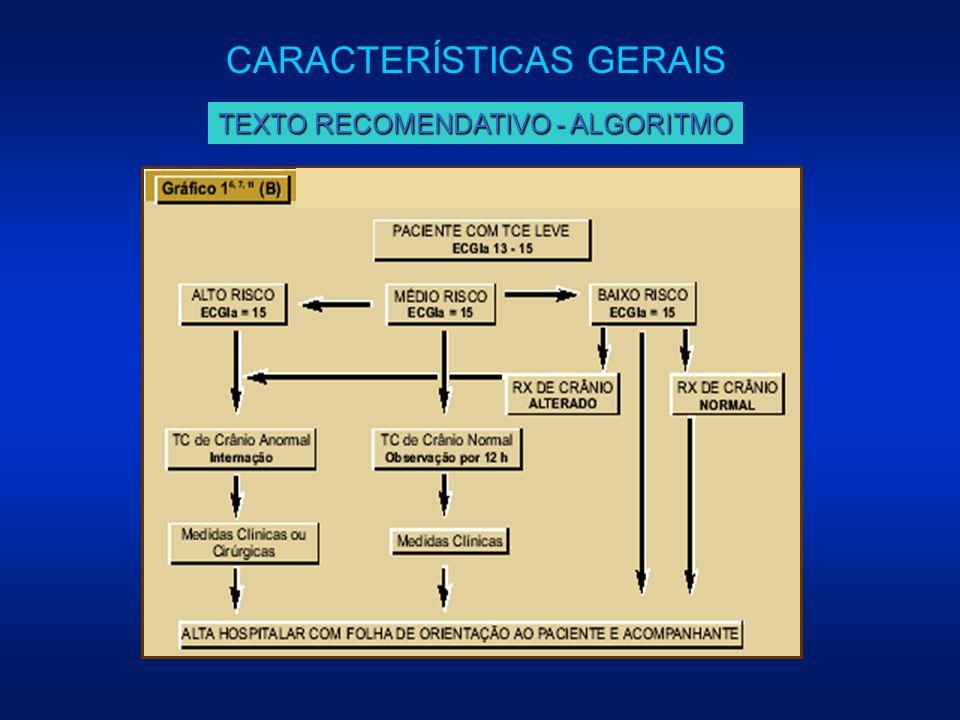 CARACTERÍSTICAS GERAIS TEXTO RECOMENDATIVO - ALGORITMO