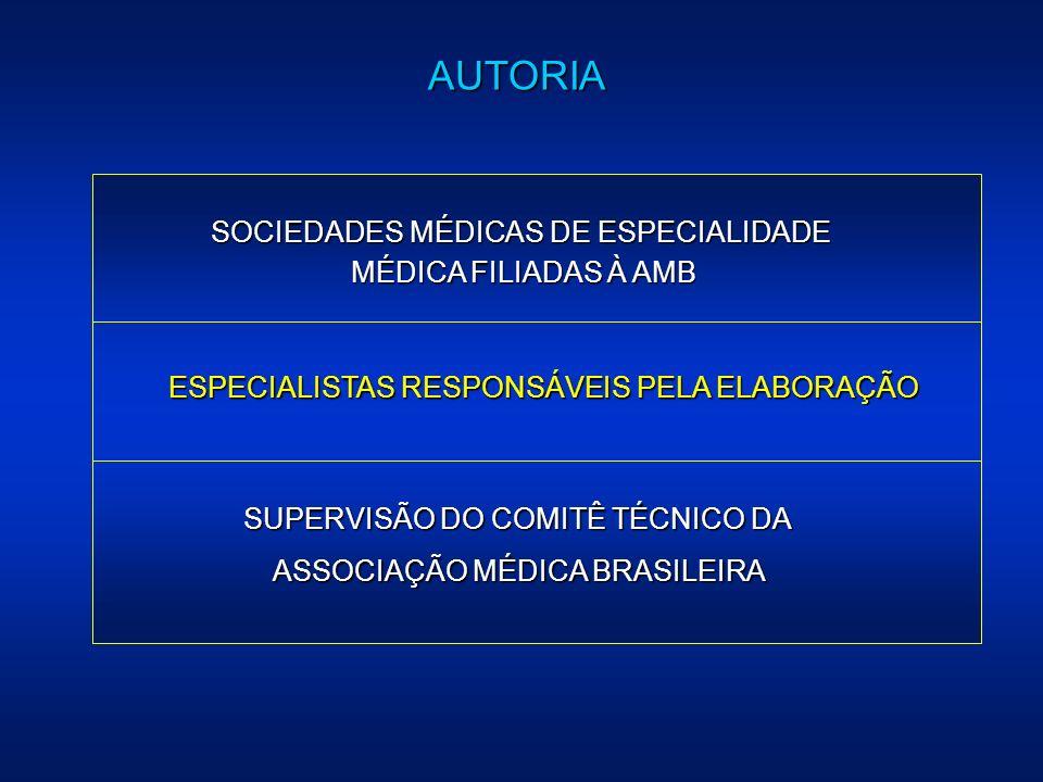 AUTORIA SOCIEDADES MÉDICAS DE ESPECIALIDADE MÉDICA FILIADAS À AMB ESPECIALISTAS RESPONSÁVEIS PELA ELABORAÇÃO SUPERVISÃO DO COMITÊ TÉCNICO DA ASSOCIAÇÃ