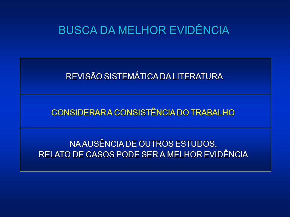 BUSCA DA MELHOR EVIDÊNCIA REVISÃO SISTEMÁTICA DA LITERATURA CONSIDERAR A CONSISTÊNCIA DO TRABALHO NA AUSÊNCIA DE OUTROS ESTUDOS, RELATO DE CASOS PODE