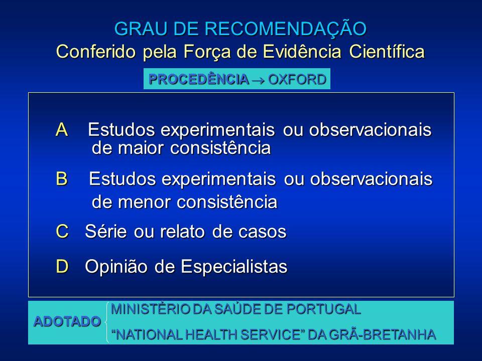 A Estudos experimentais ou observacionais de maior consistência de maior consistência B Estudos experimentais ou observacionais de menor consistência