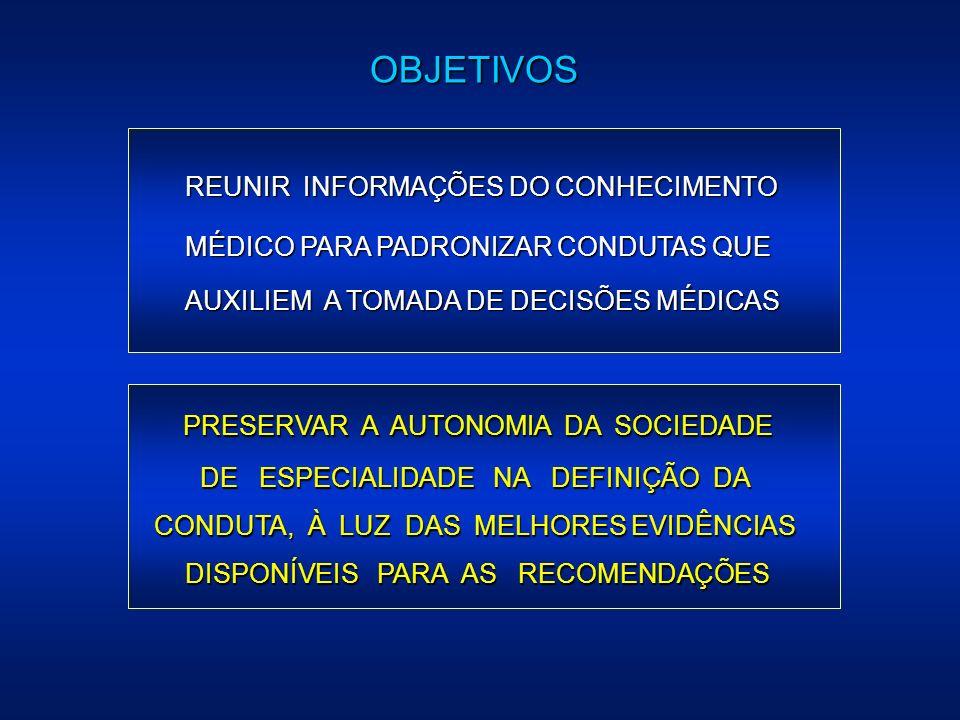 PRESERVAR A AUTONOMIA DA SOCIEDADE DE ESPECIALIDADE NA DEFINIÇÃO DA CONDUTA, À LUZ DAS MELHORES EVIDÊNCIAS DISPONÍVEIS PARA AS RECOMENDAÇÕES REUNIR IN