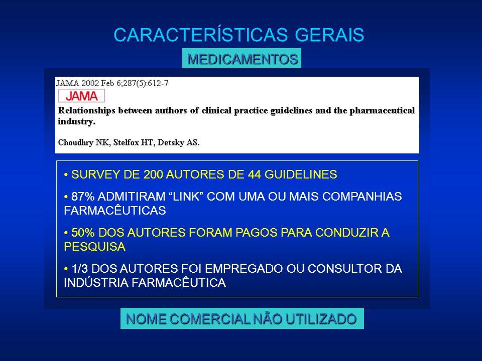 MEDICAMENTOS SURVEY DE 200 AUTORES DE 44 GUIDELINES 87% ADMITIRAM LINK COM UMA OU MAIS COMPANHIAS FARMACÊUTICAS 50% DOS AUTORES FORAM PAGOS PARA CONDU