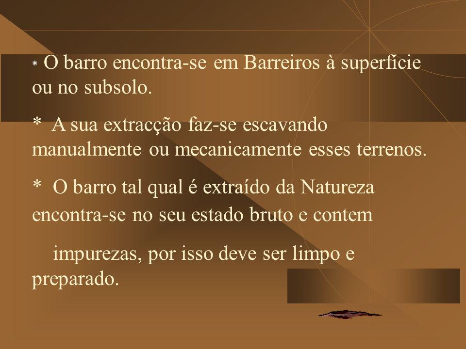 * O barro encontra-se em Barreiros à superfície ou no subsolo.