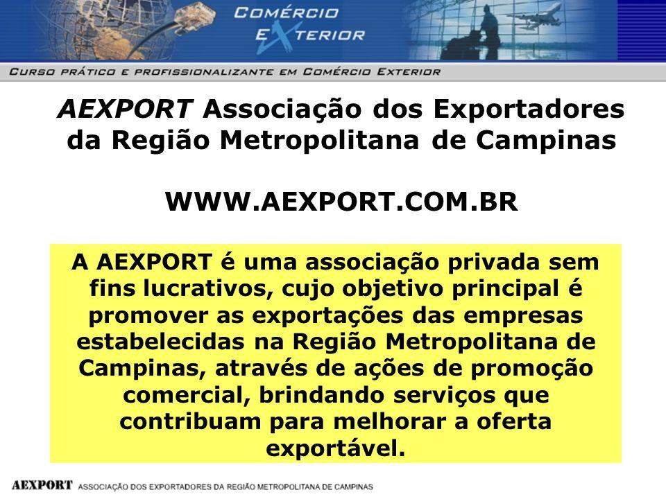 Informa ç ões Fone: / Fax: 55 19 3894-1550 E-mail: aexport@terra.com.br Rua: Jos é do Patroc í nio, 109 -Sala 1.