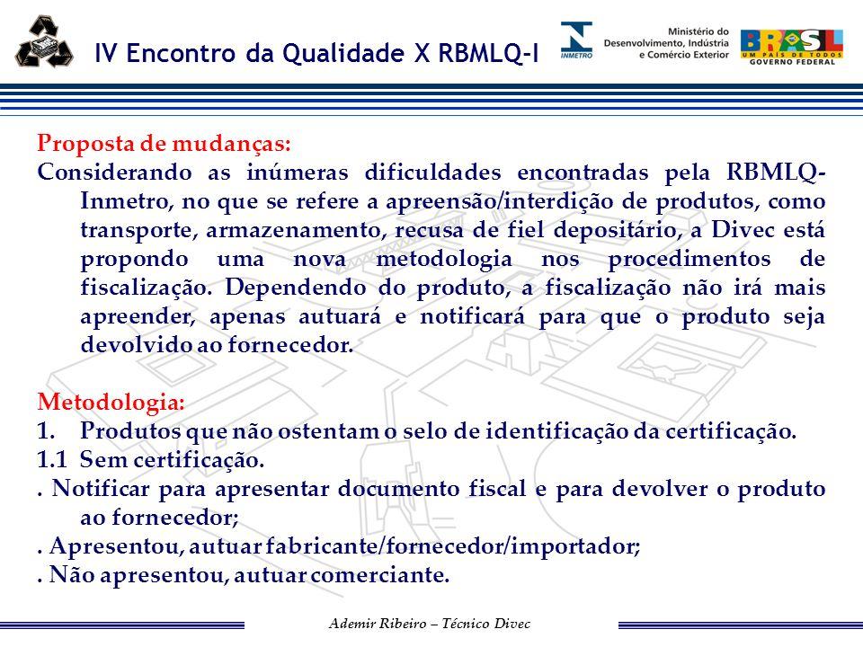 IV Encontro da Qualidade X RBMLQ-I Ademir Ribeiro – Técnico Divec 1.2 Com certificação..