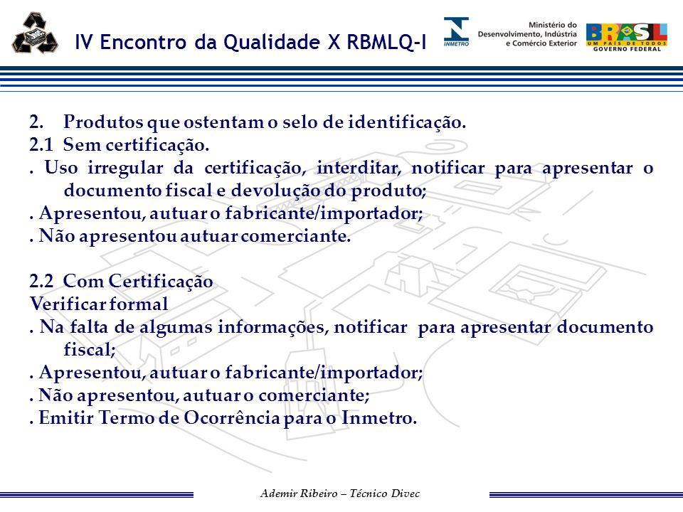 IV Encontro da Qualidade X RBMLQ-I Ademir Ribeiro – Técnico Divec DESTINO DOS PRODUTOS APREENDIDOS