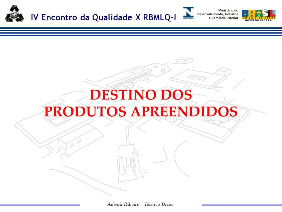 IV Encontro da Qualidade X RBMLQ-I Ademir Ribeiro – Técnico Divec DESTINAÇÃO DOS PRODUTOS APREENDIDOS 1.