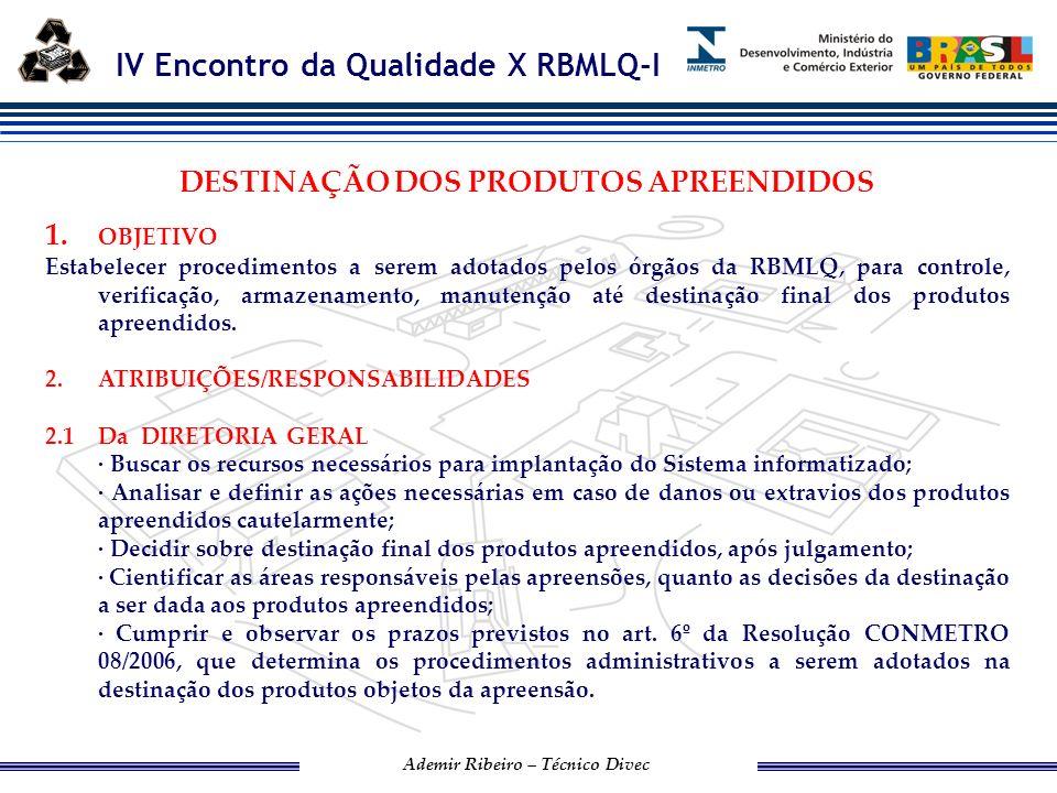 IV Encontro da Qualidade X RBMLQ-I Ademir Ribeiro – Técnico Divec 2.2Dos Supervisores Responsáveis Definir o planejamento de controle de armazenamento e preservação dos produtos apreendidos cautelarmente, em espaço físico(depósito) previamente designado;.