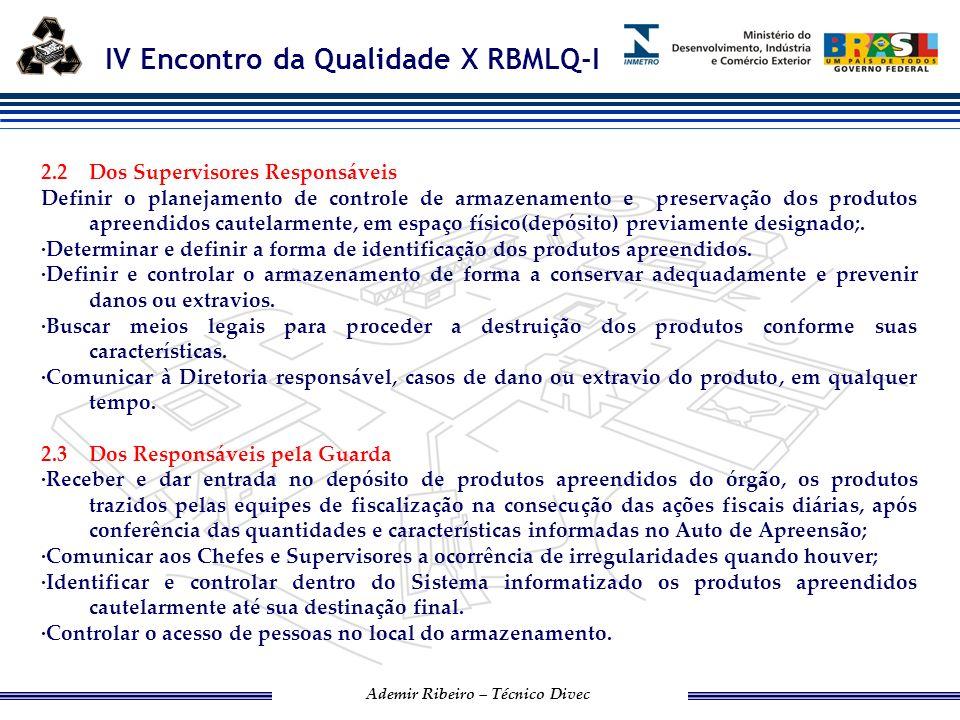 IV Encontro da Qualidade X RBMLQ-I Ademir Ribeiro – Técnico Divec 3.