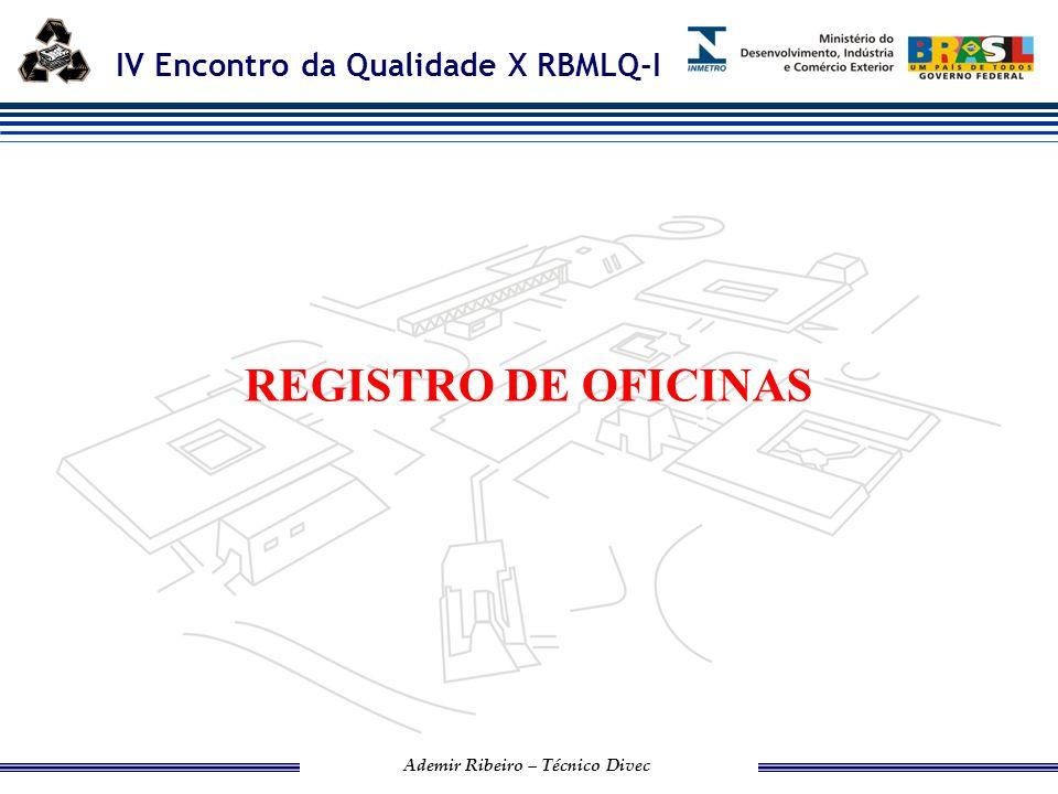 IV Encontro da Qualidade X RBMLQ-I Ademir Ribeiro – Técnico Divec Hoje realizamos verificação pelos Órgãos Delegados, para registro de Oficinas em três segmentos: GNV, Extintor de incêndio e Reformadoras de Pneus.