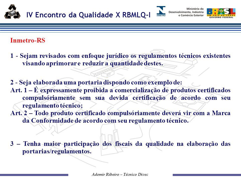 IV Encontro da Qualidade X RBMLQ-I Ademir Ribeiro – Técnico Divec 4 - Antes da publicação de qualquer portaria/regulamento seja elaborado um piloto em algum estado, ou alguns estados, visando corrigir possíveis imperfeições.