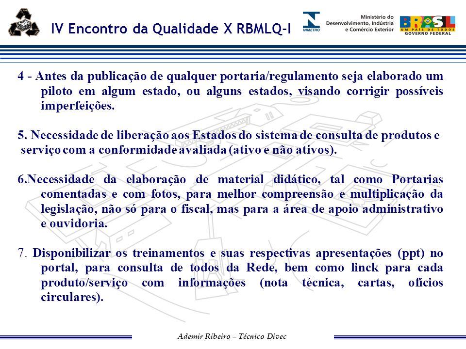 IV Encontro da Qualidade X RBMLQ-I Ademir Ribeiro – Técnico Divec 11.