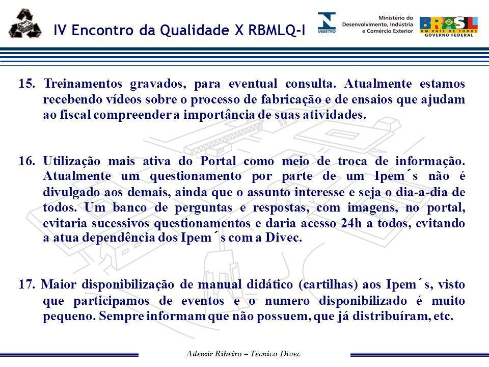 IV Encontro da Qualidade X RBMLQ-I Ademir Ribeiro – Técnico Divec 18.