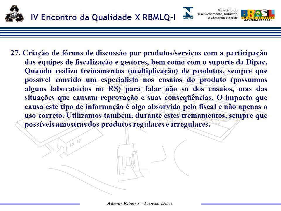 IV Encontro da Qualidade X RBMLQ-I Ademir Ribeiro – Técnico Divec IPEM/PR 28.