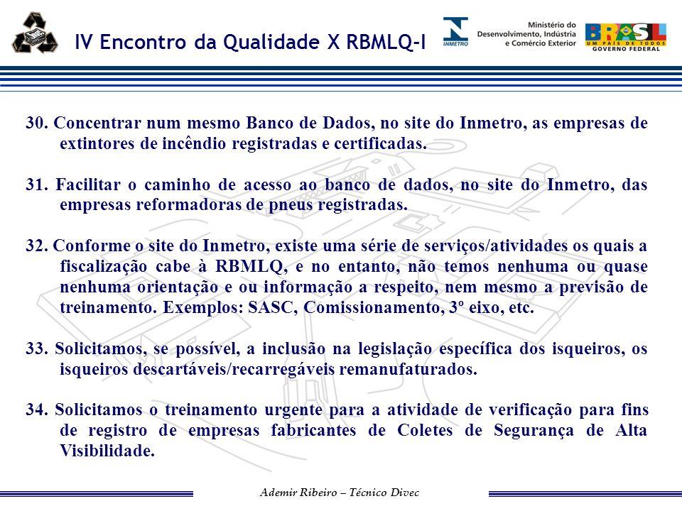 IV Encontro da Qualidade X RBMLQ-I Ademir Ribeiro – Técnico Divec 35.