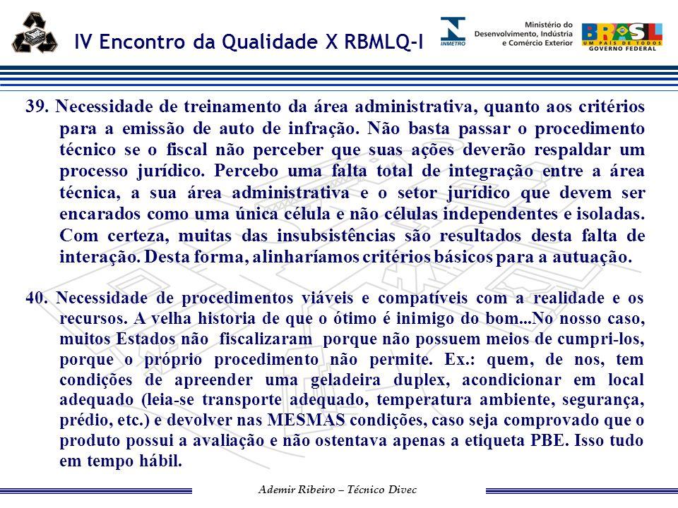 IV Encontro da Qualidade X RBMLQ-I Ademir Ribeiro – Técnico Divec IPEM/SP 41.
