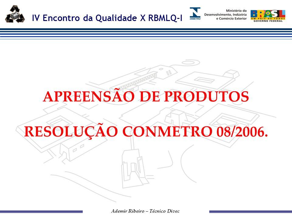IV Encontro da Qualidade X RBMLQ-I Ademir Ribeiro – Técnico Divec RESOLUÇÃO CONMETRO 08/2006.